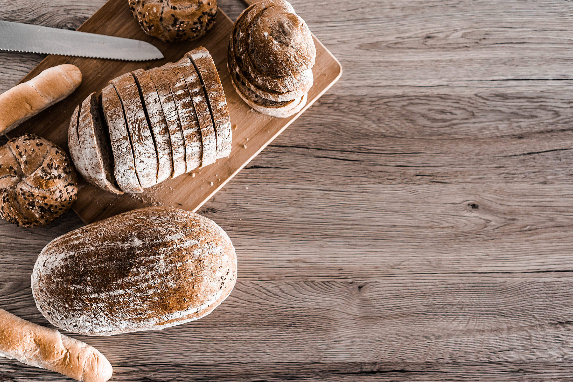 Download Bread and Baked Goods with Place for Text Free Stock Photo