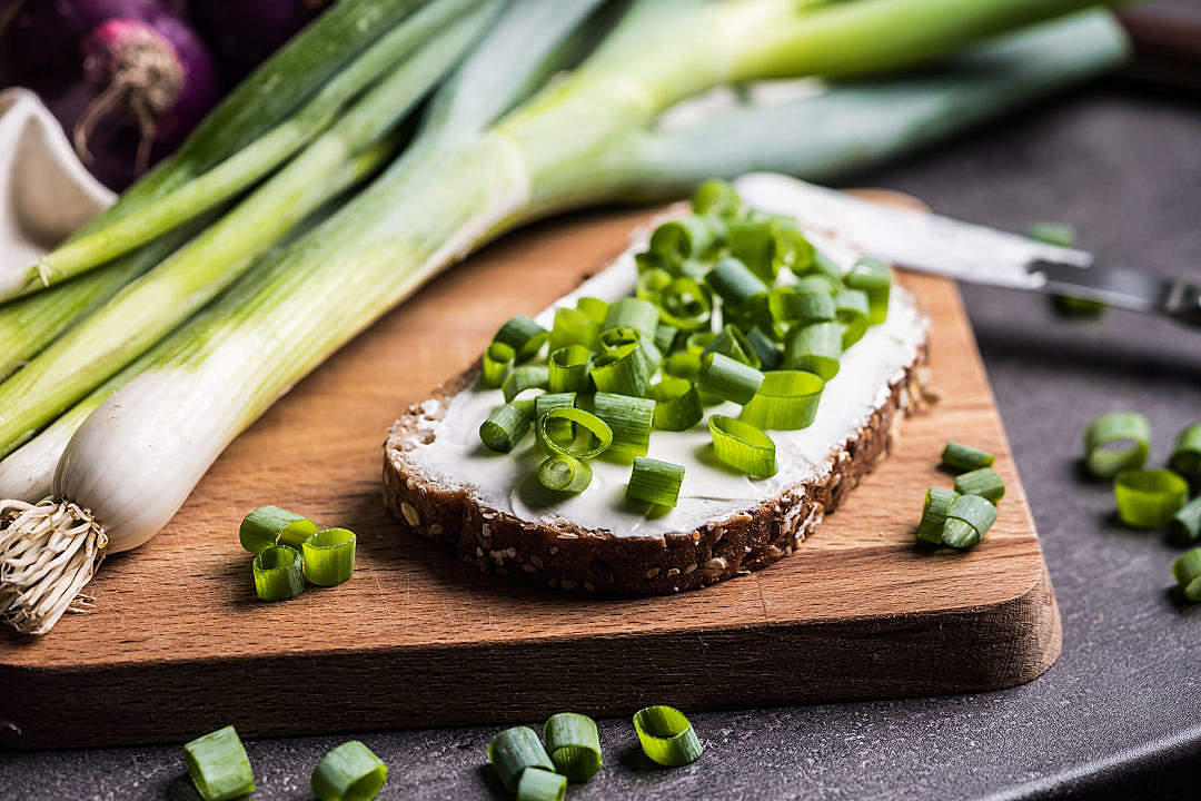 Download Bread with Scallion (Spring Onion) FREE Stock Photo