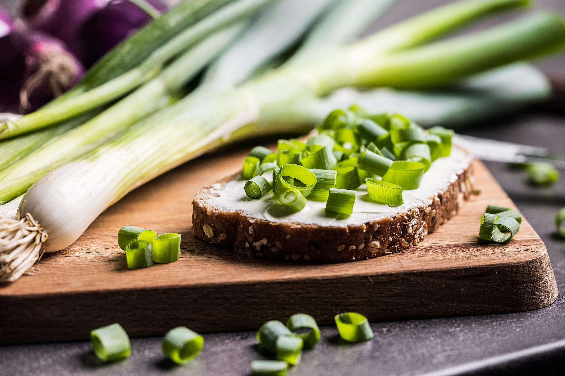 Bread with Spring Onion Free Stock Photo