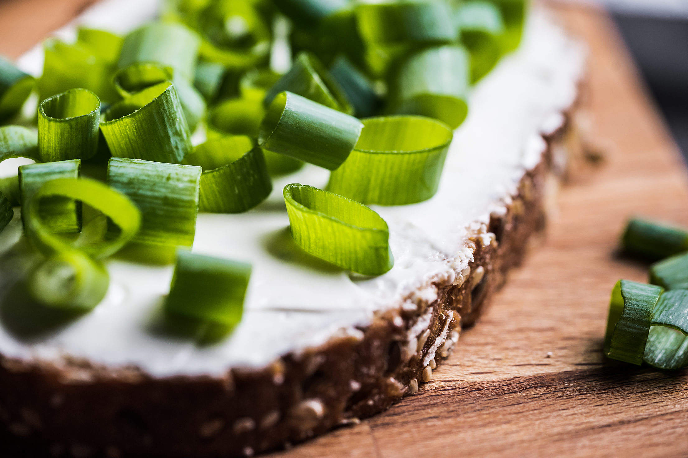 Bread with Spring Onion Close Up Free Stock Photo