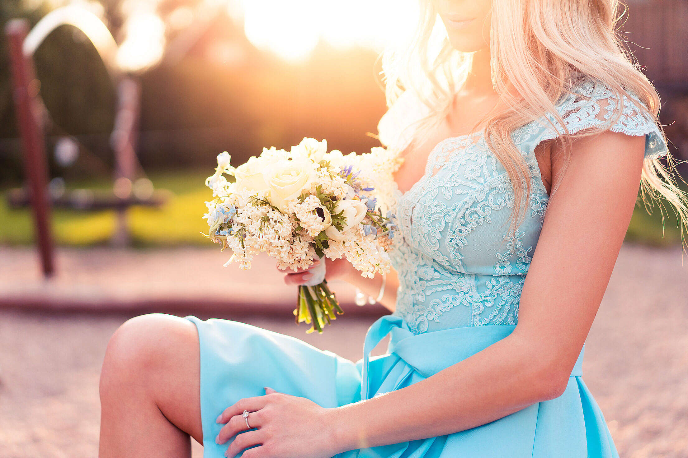 Bridesmaid in a Blue Dress Free Stock Photo