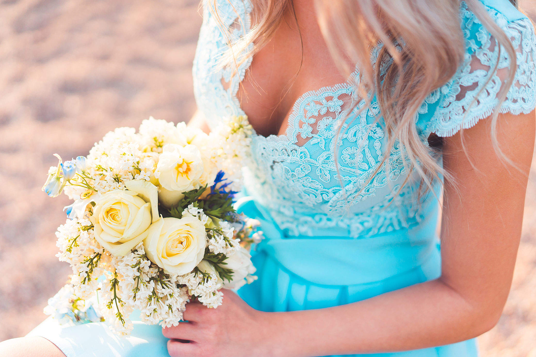 Bridesmaid with Beautiful Flower Free Stock Photo