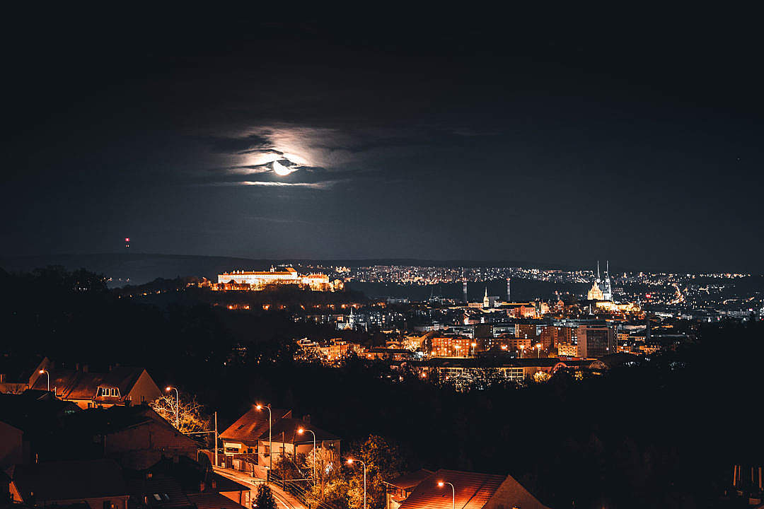Download Brno City, Czechia at Night FREE Stock Photo