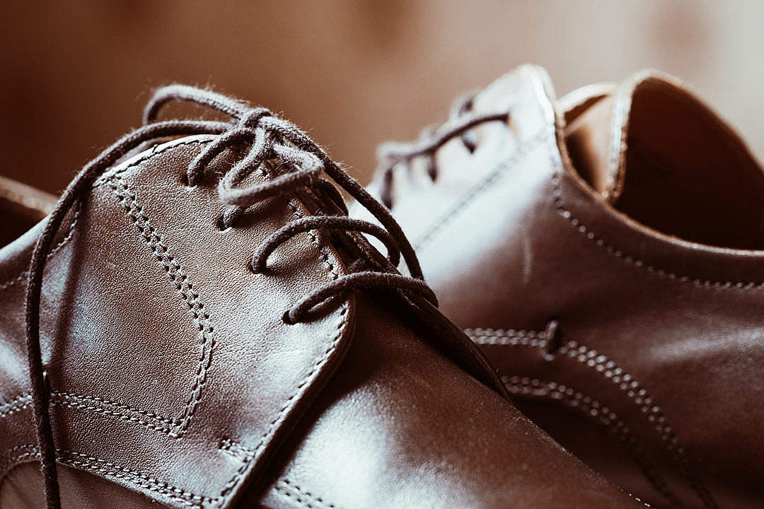 Download Brown Leather Shoes Shoelaces Close Up #2 FREE Stock Photo