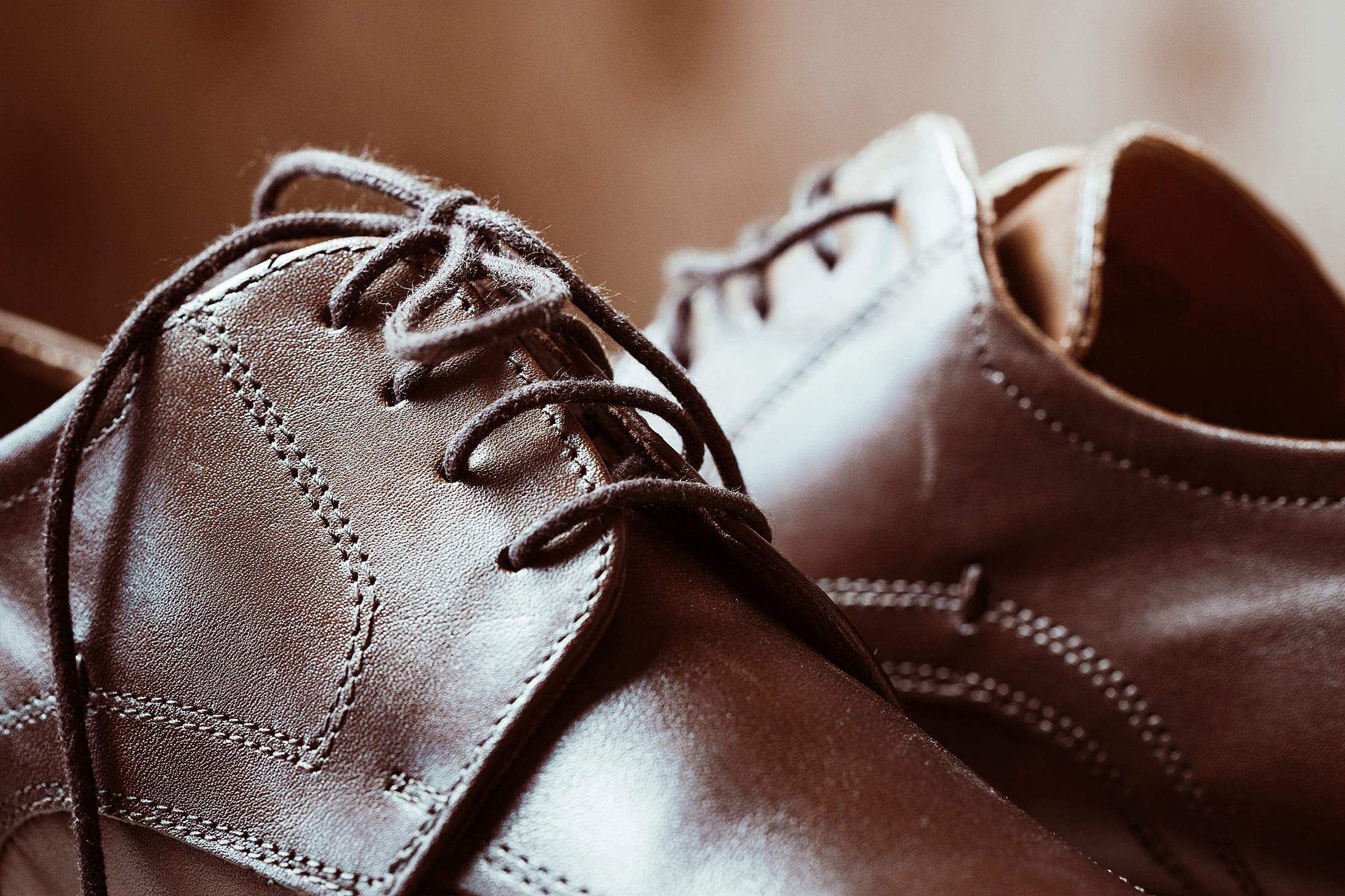 Brown Leather Shoes Shoelaces Close Up #2 Free Stock Photo