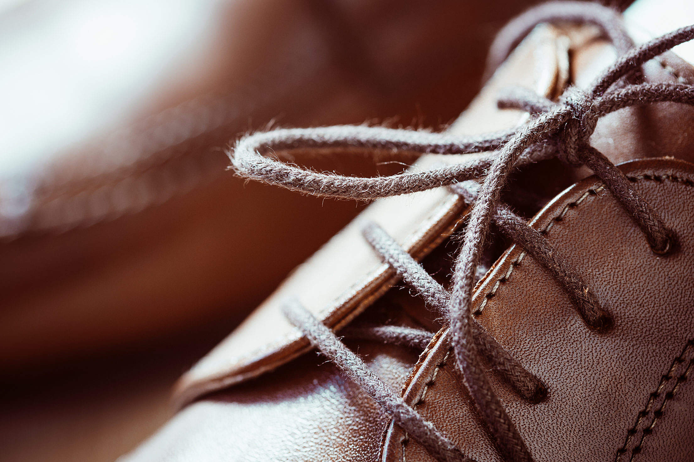 Brown Leather Shoes Shoelaces Close Up Free Stock Photo