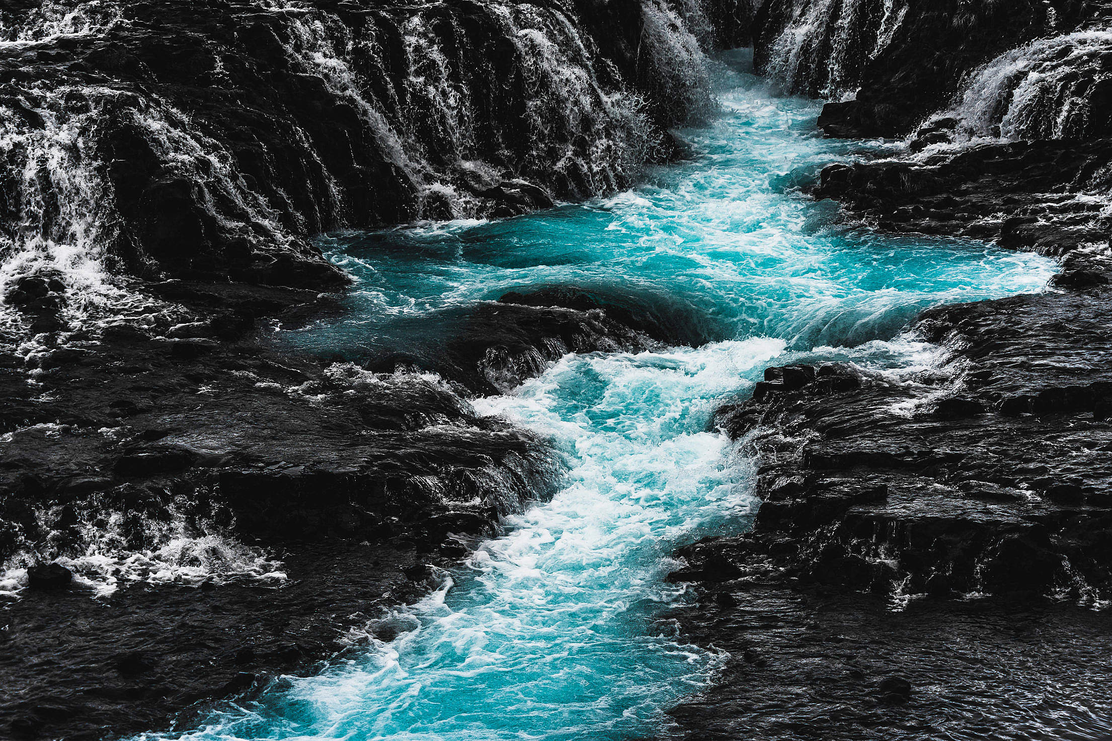 Bruarfoss Amazing Blue Waterfall in Iceland Free Stock Photo