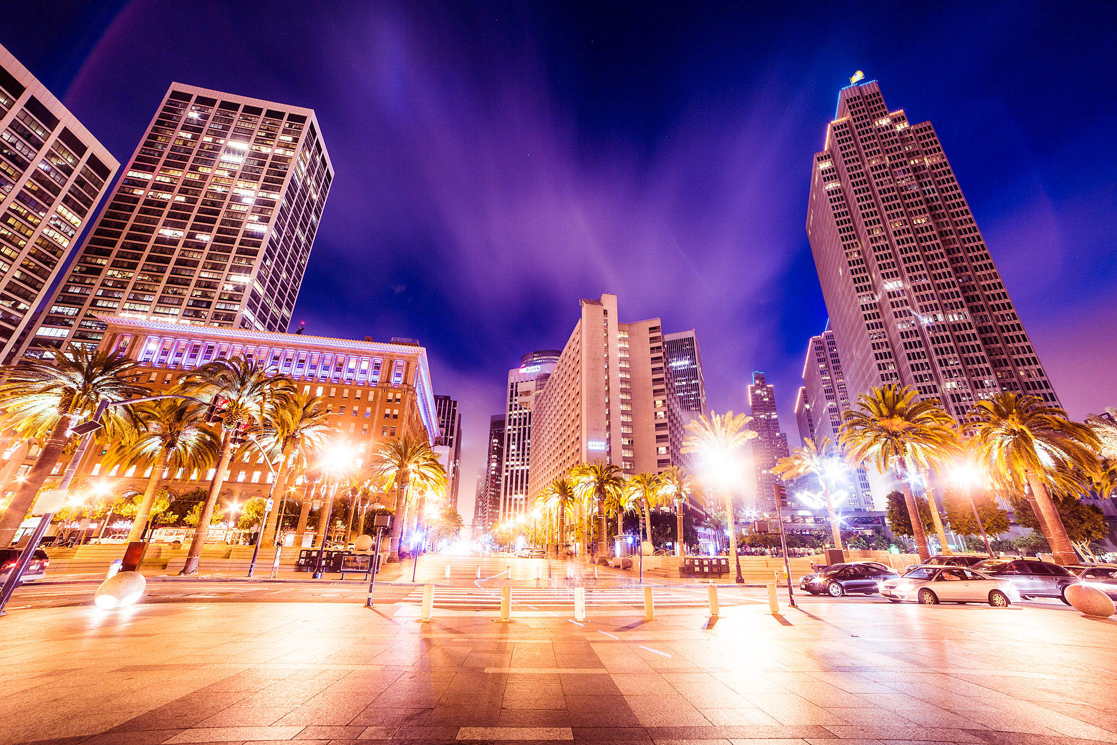 Download Buildings In Front of San Francisco Ferry Building At Night Free Stock Photo