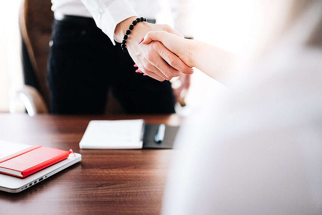 Download Business Man and Woman Handshake in Work Office FREE Stock Photo