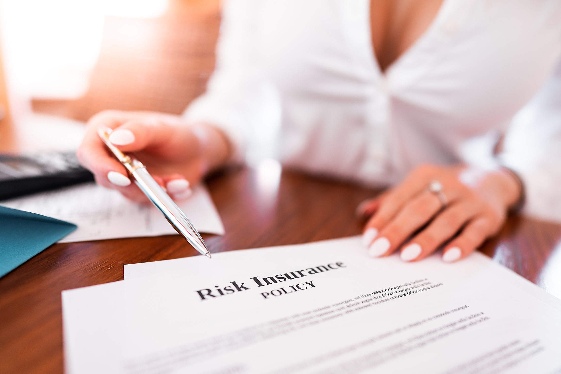 Business Woman Pointing at The Contract Free Stock Photo