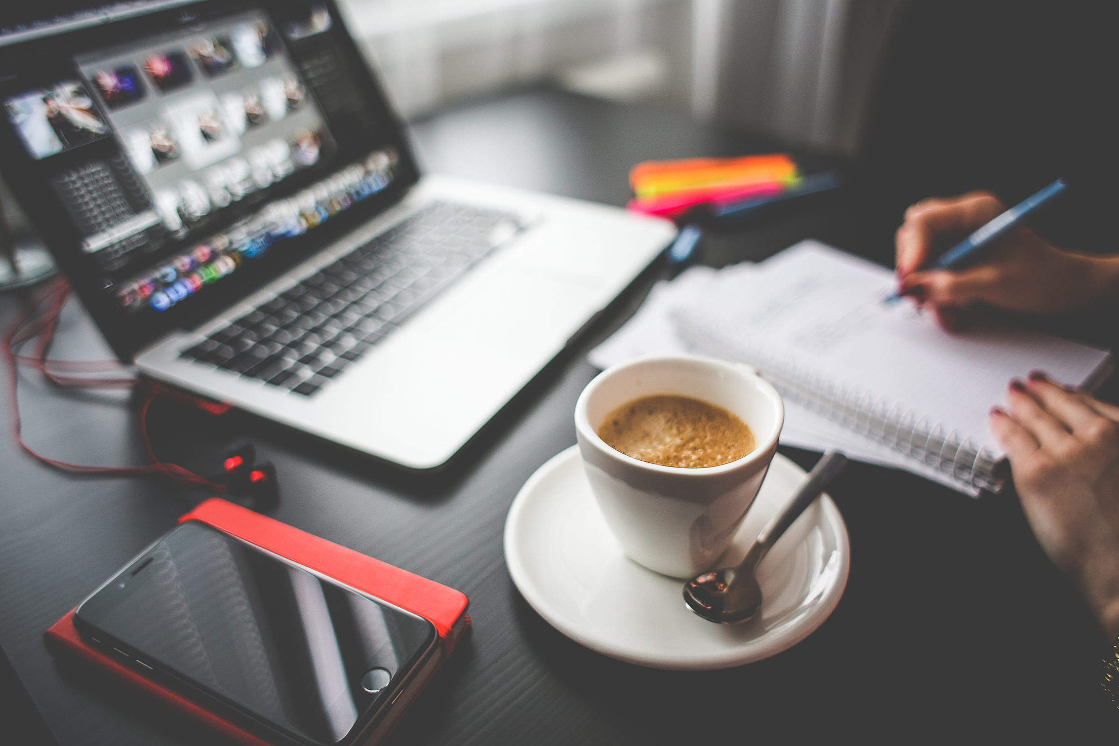 Business/Office Morning Coffee Free Stock Photo