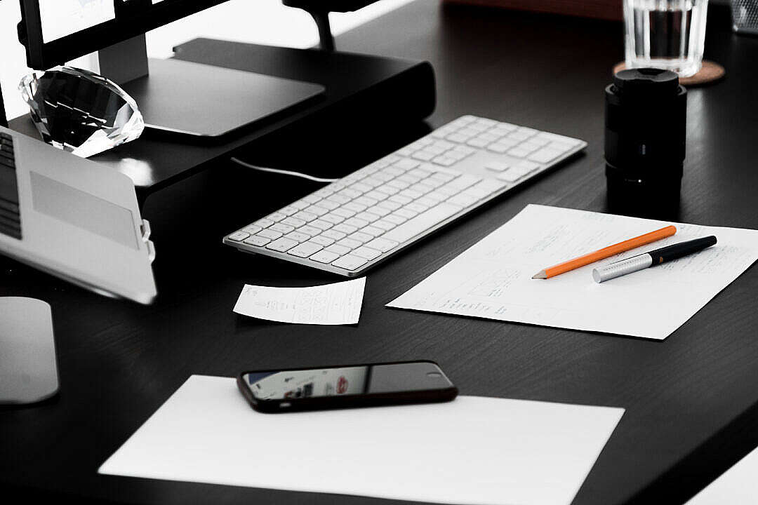 Download Busy Designer Minimalist Workplace Desk FREE Stock Photo