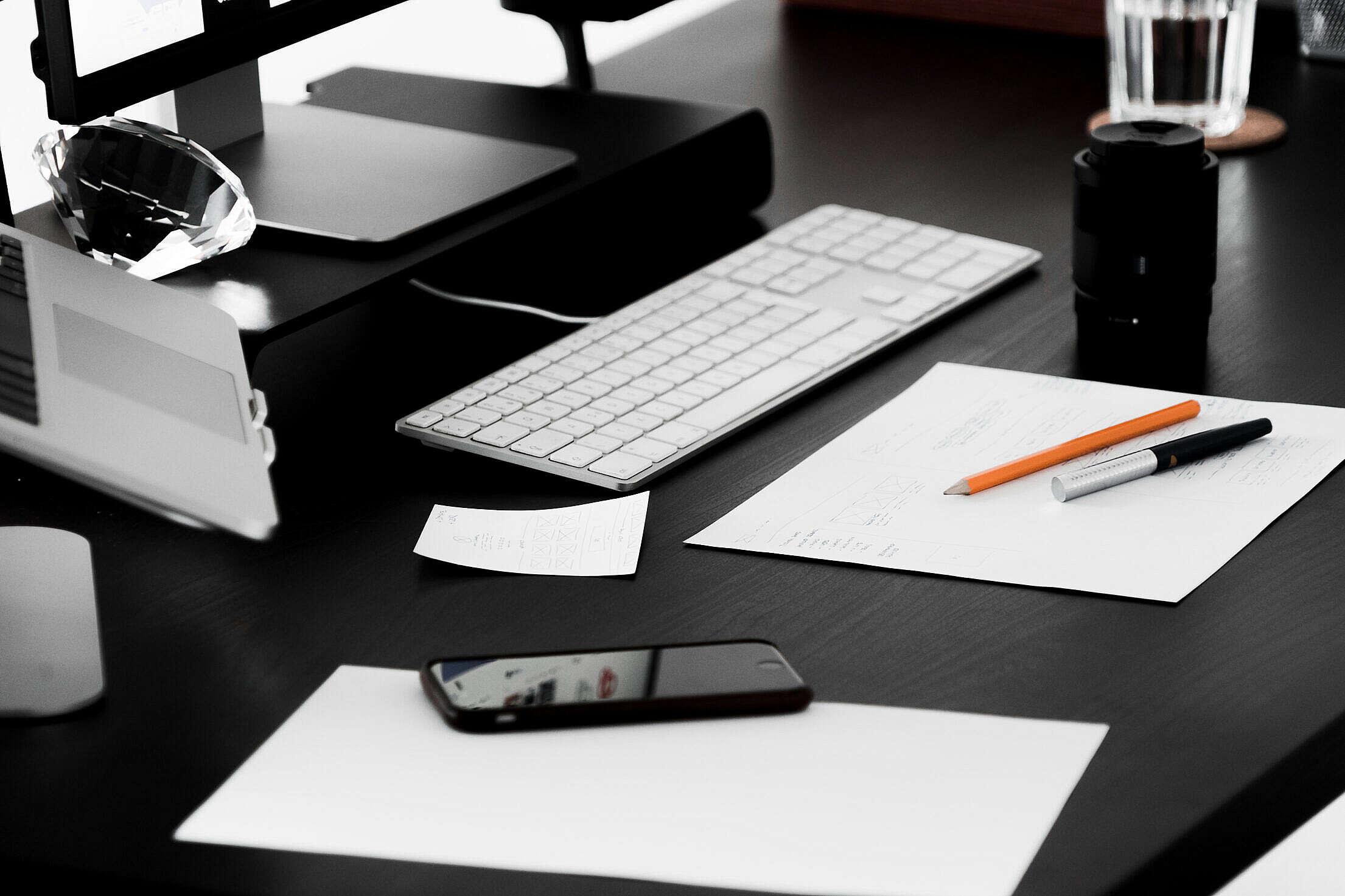 Busy Designer Minimalist Workplace Desk Free Stock Photo