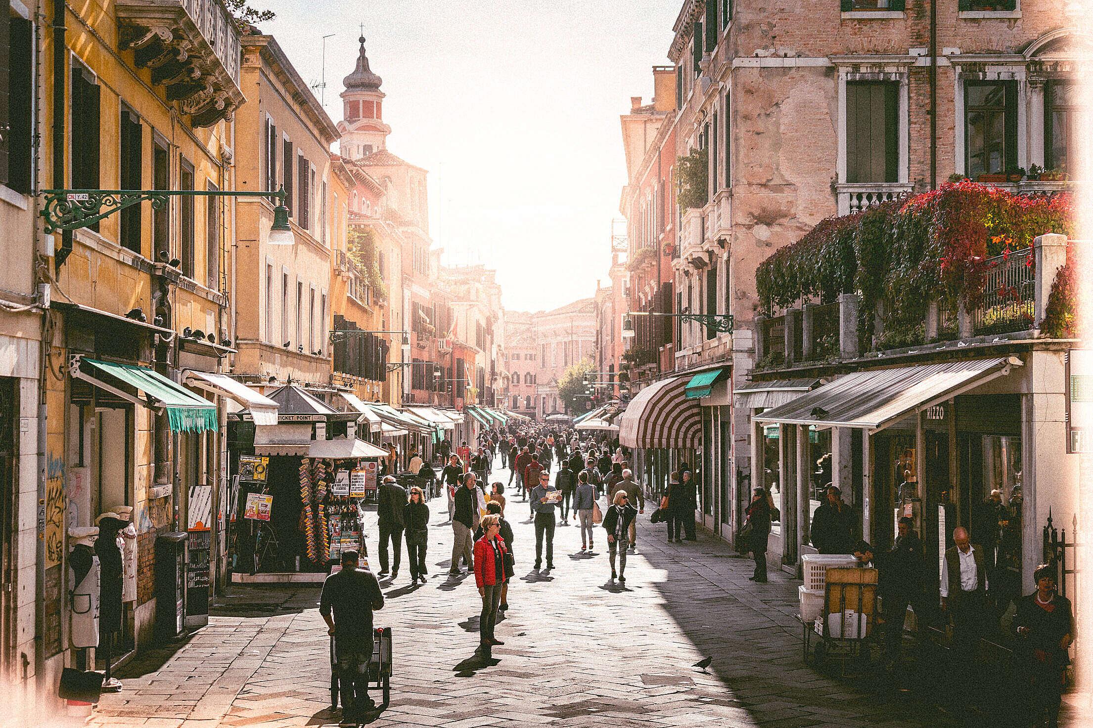 Busy Street in Venice, Italy Free Stock Photo