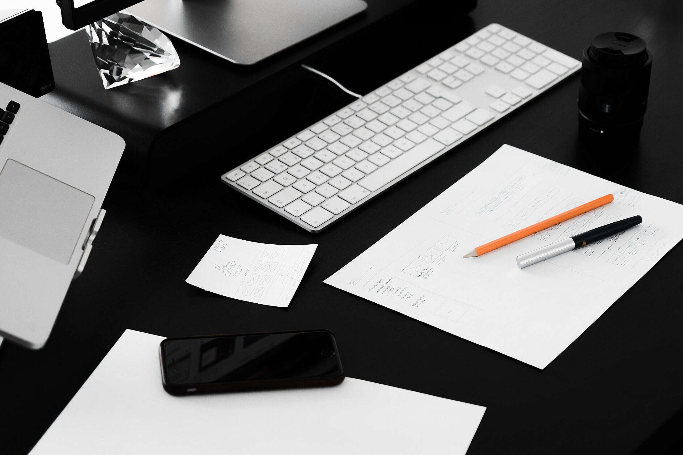 Busy Web Designer Minimalist Workplace Desk Free Stock Photo