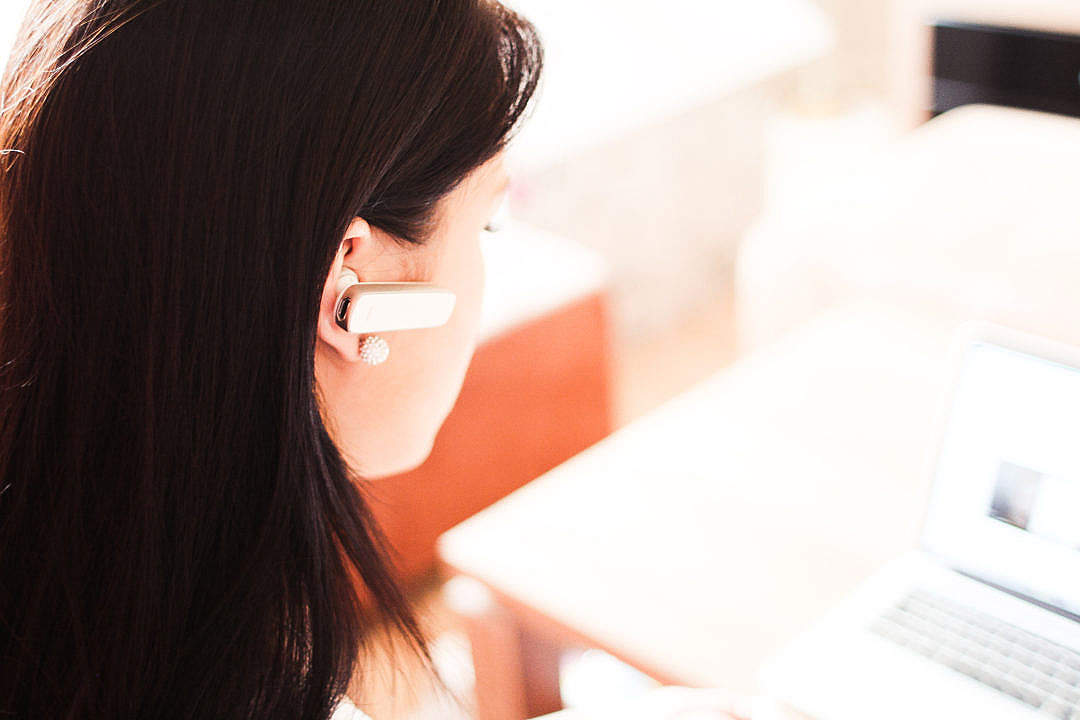 Download Call Operator with Bluetooth Handsfree FREE Stock Photo