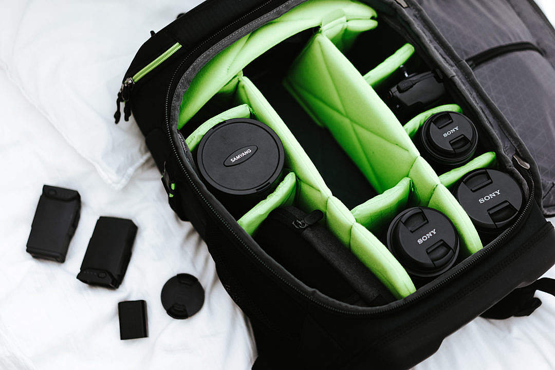 Download Camera Bag with Lenses FREE Stock Photo