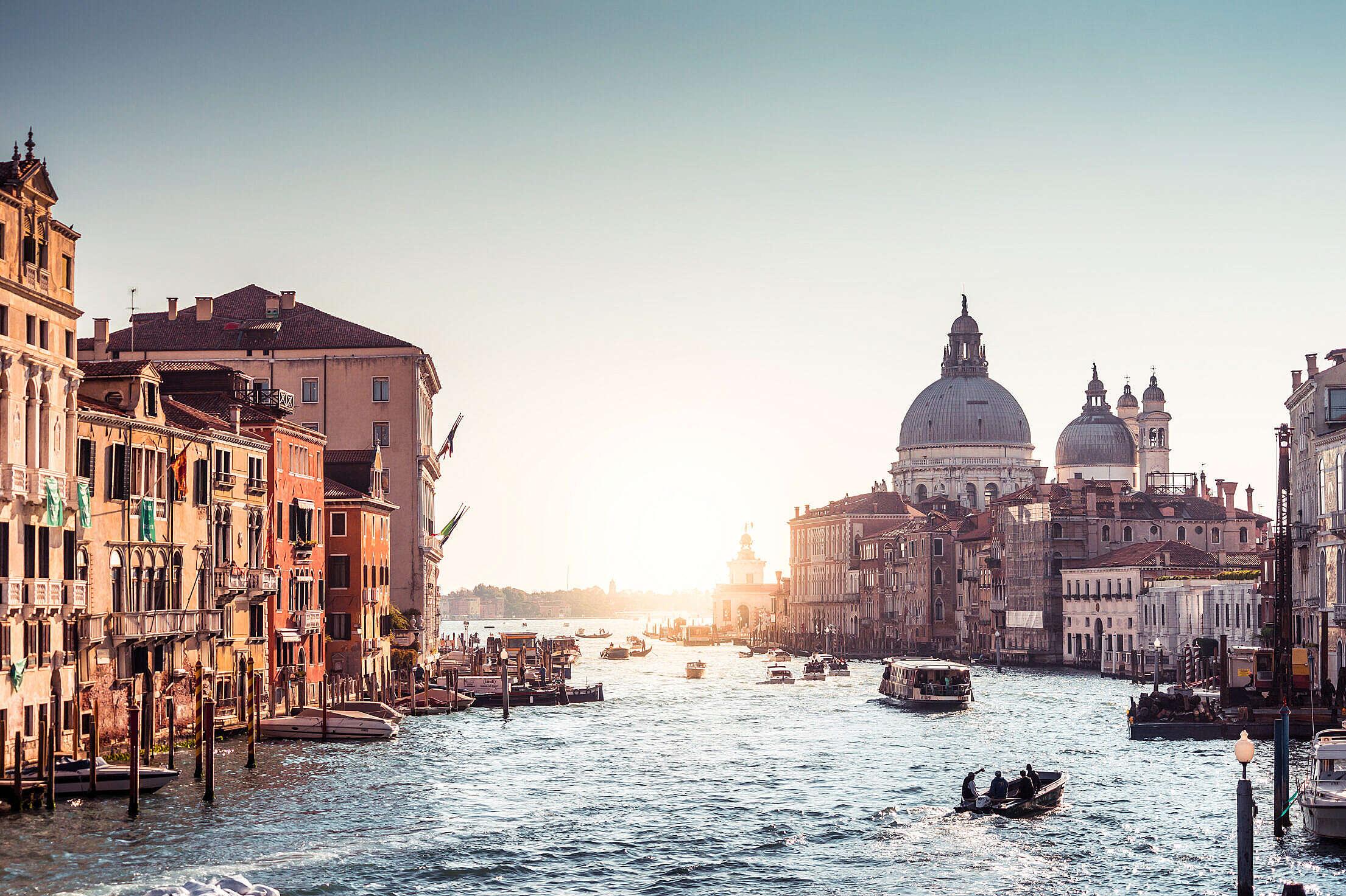 Canal Grande with Basilica di Santa Maria della Salute in Venice, Italy Free Stock Photo