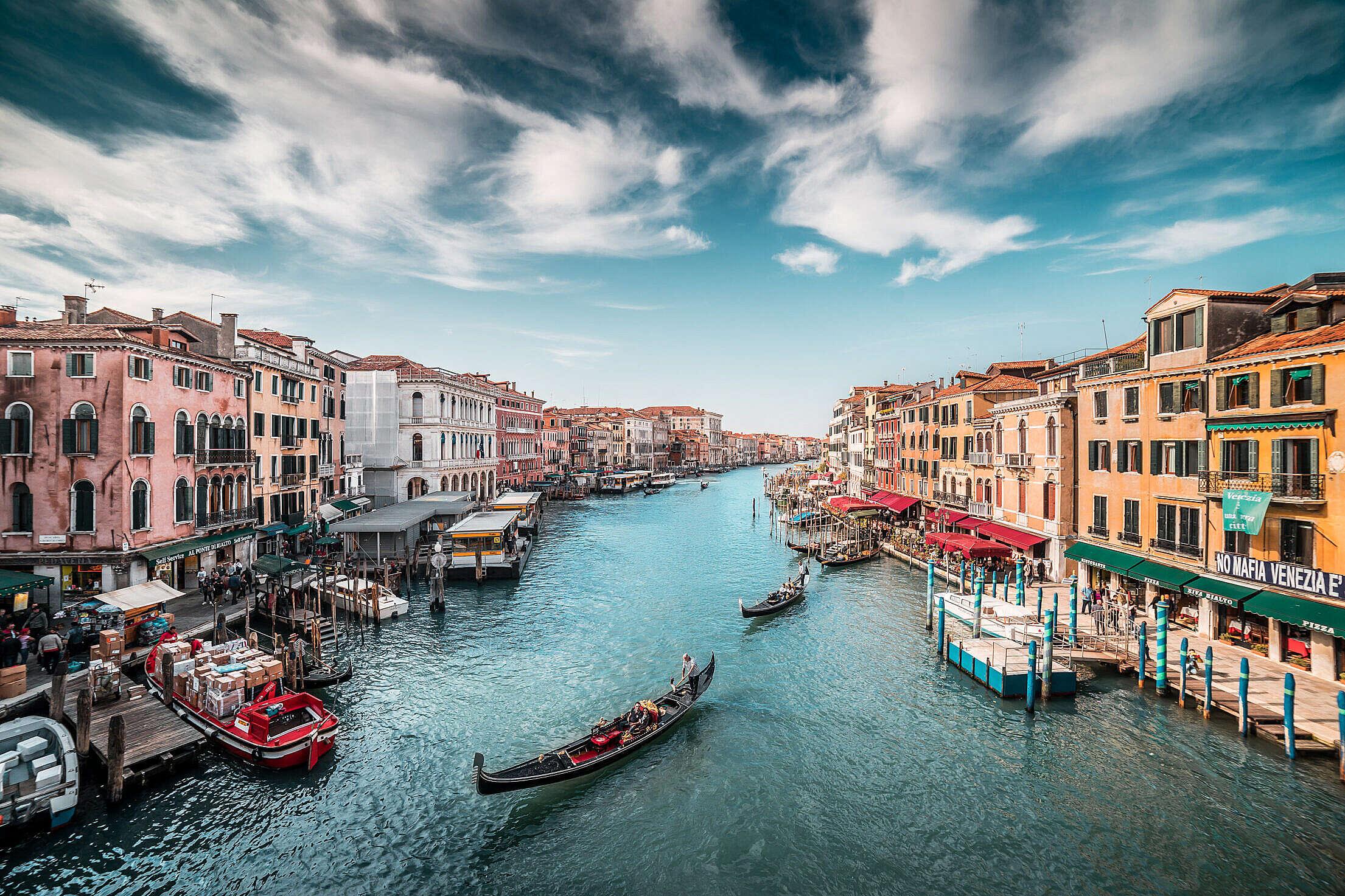 Canal Grande with Gondolas in Venice Free Stock Photo