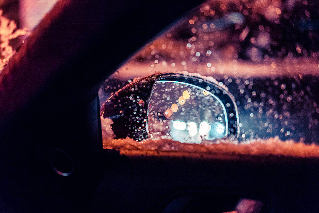 Download Car Rear-View Side Mirror in Snowy Weather FREE Stock Photo