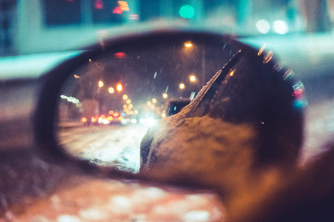 Download Car Side Rear-View Mirror in Snowy Night FREE Stock Photo