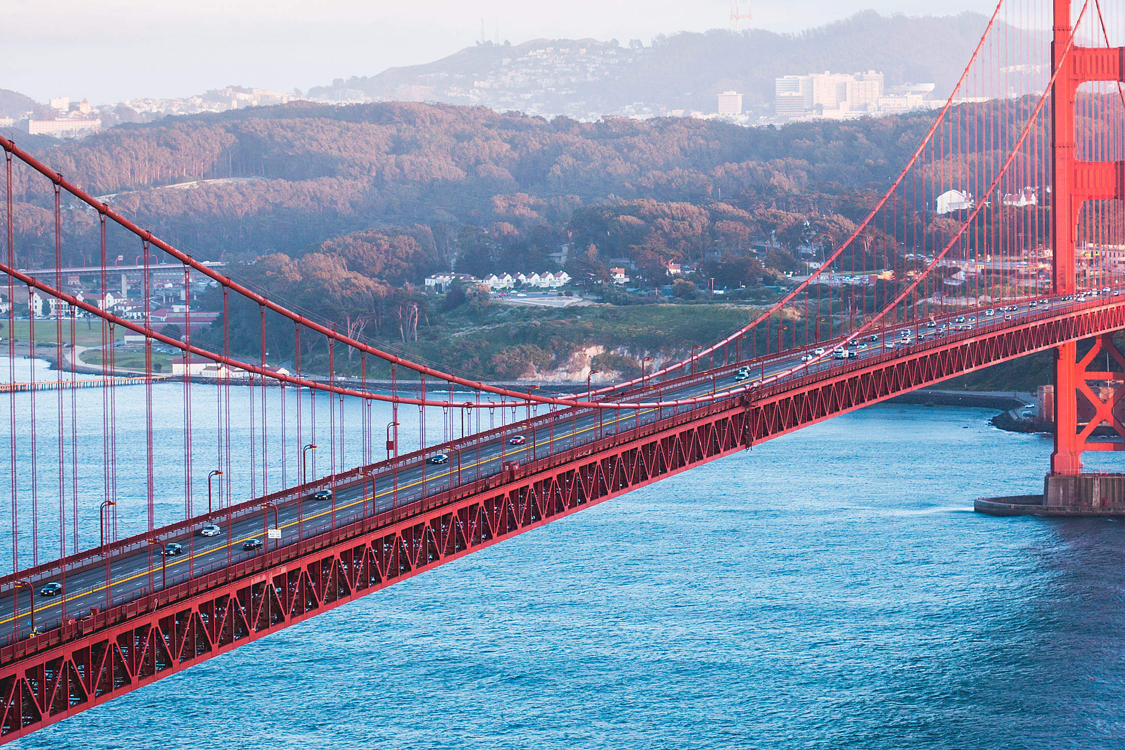Cars on Golden Gate Bridge from Battery Spencer Viewpoint Free Stock Photo