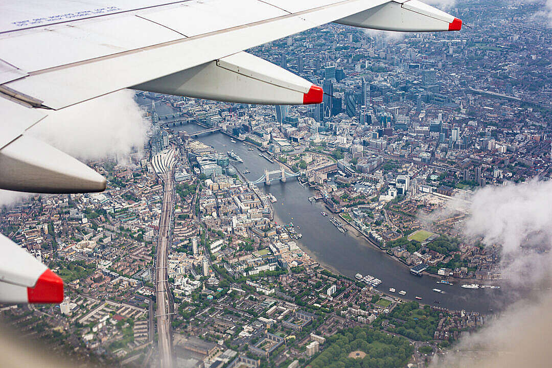 Download Center of London, UK from the Airplane Window FREE Stock Photo