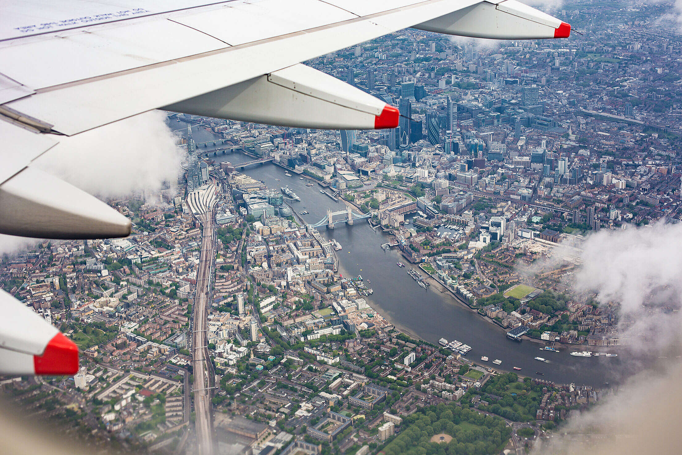 Center of London, UK from the Airplane Window Free Stock Photo