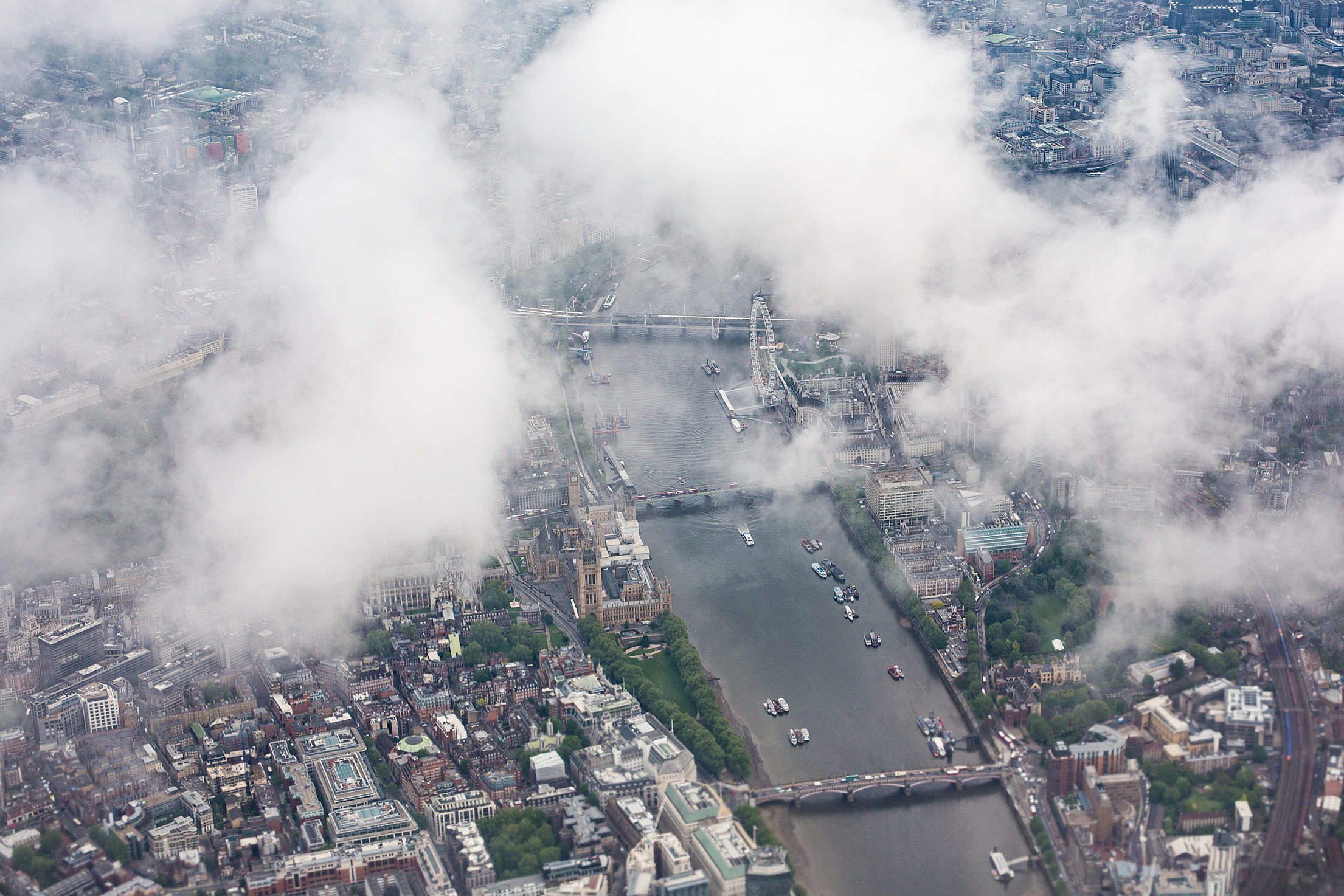 Center of London (UK) with London's Eye from the Airplane Free Stock Photo