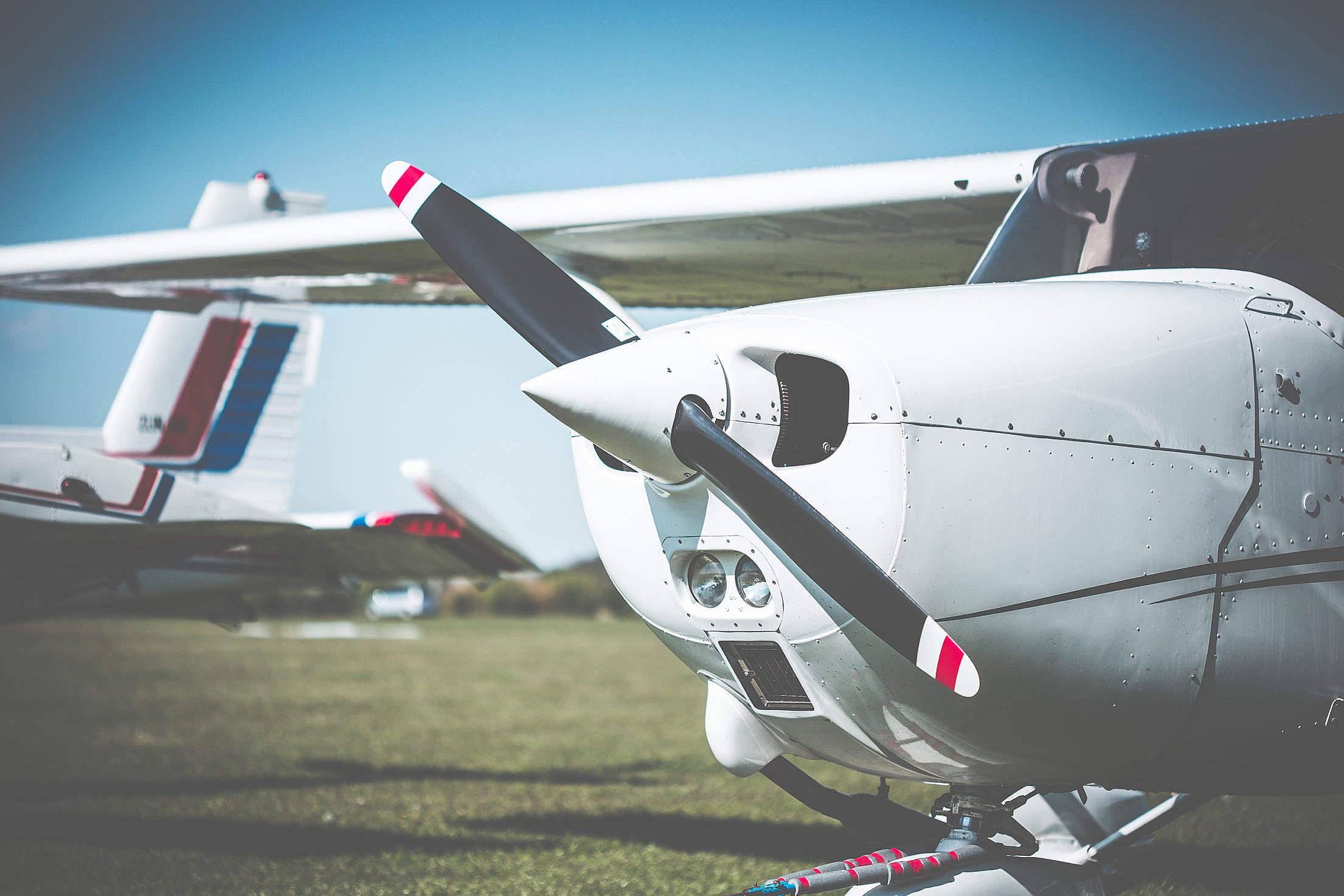 Cessna Airplane Propeller Closeup Free Stock Photo