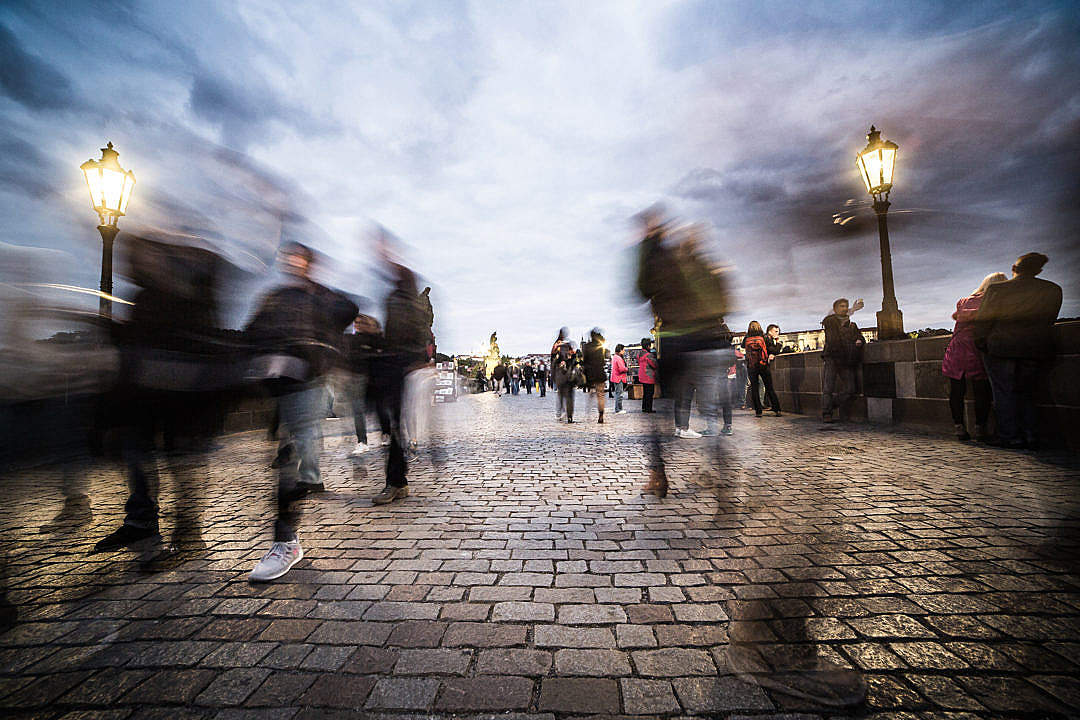 Download Chaotic People on Charles Bridge in Prague FREE Stock Photo