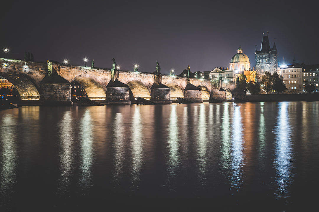 Download Charles Bridge in Prague at Night FREE Stock Photo