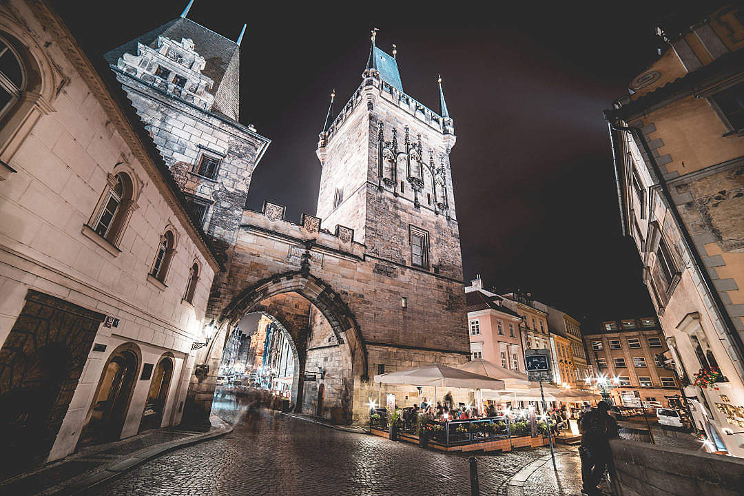 Download Charles Bridge Towers, Prague at Night FREE Stock Photo