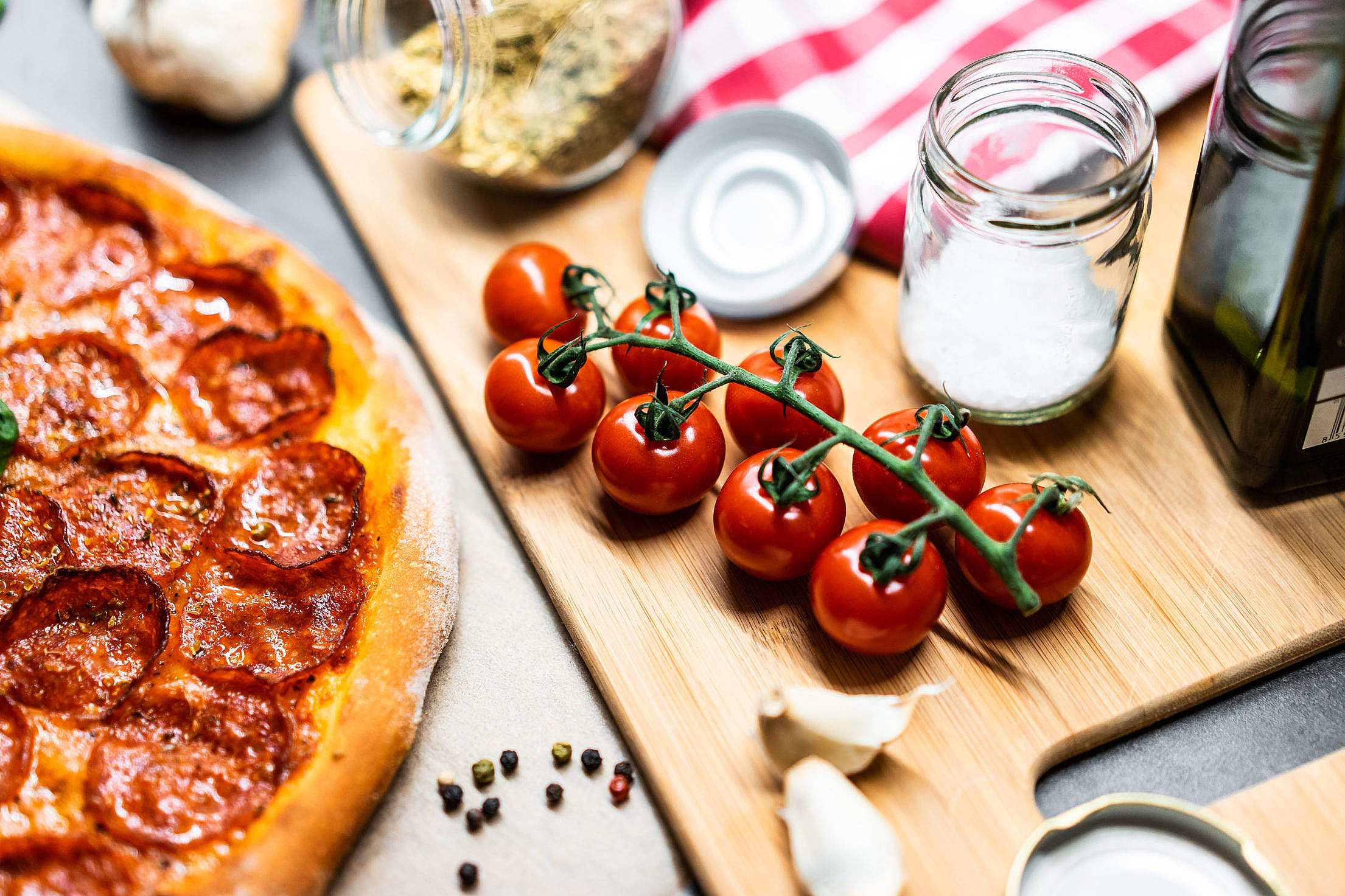 Cherry Tomatoes and Pizza Free Stock Photo