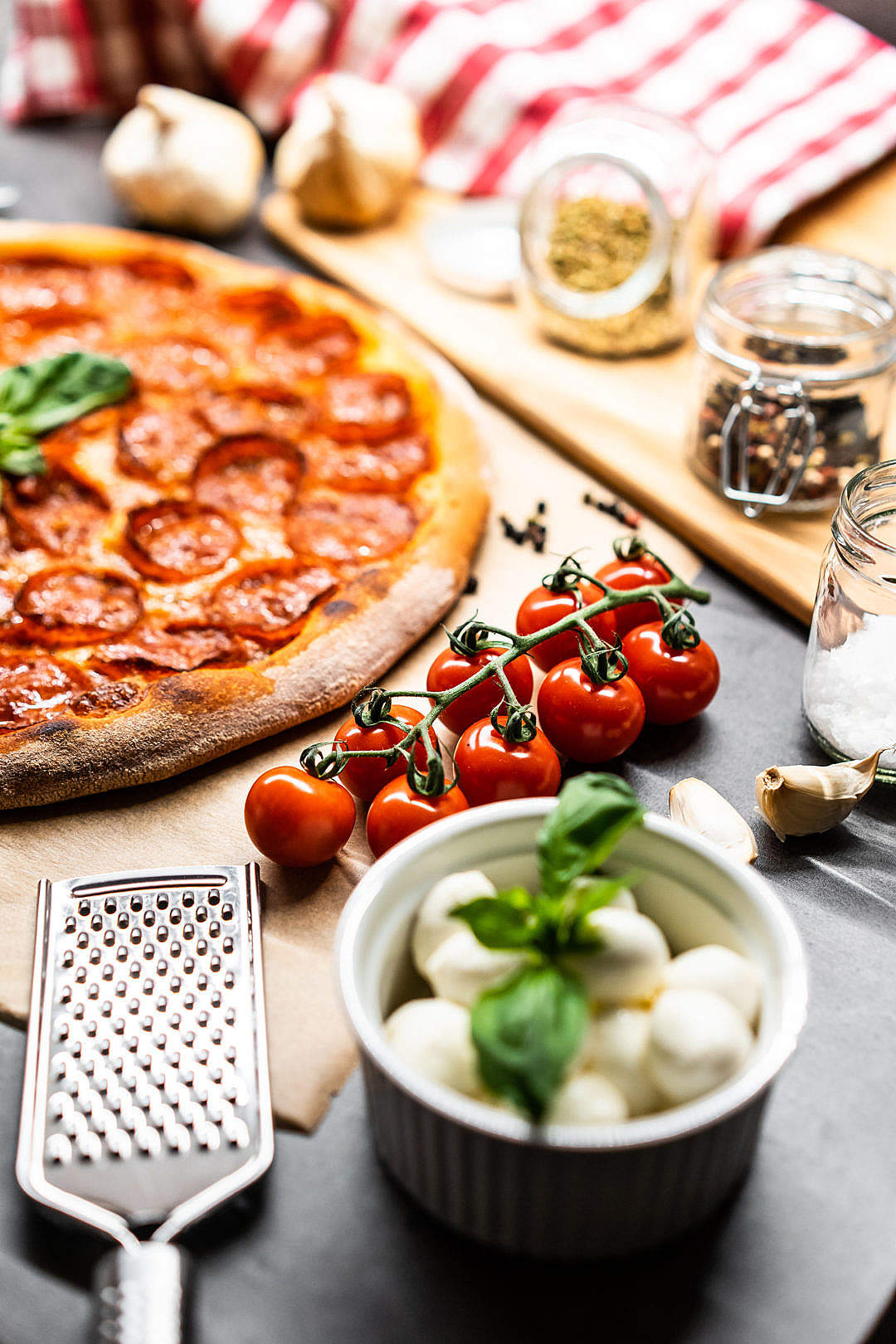 Download Cherry Tomatoes and Pizza Salami FREE Stock Photo