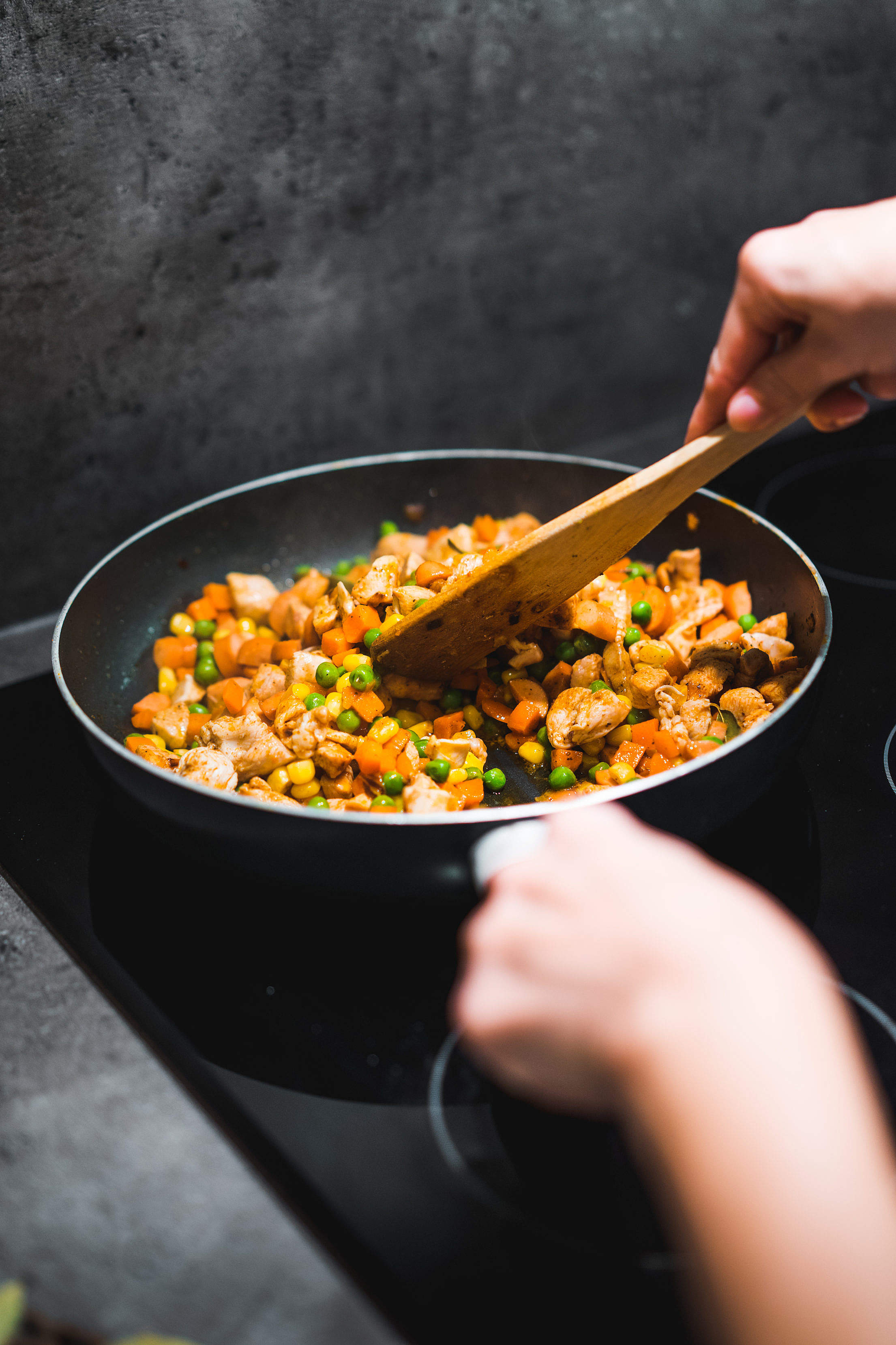 Chicken with Mixed Vegetables in a Pan Free Stock Photo