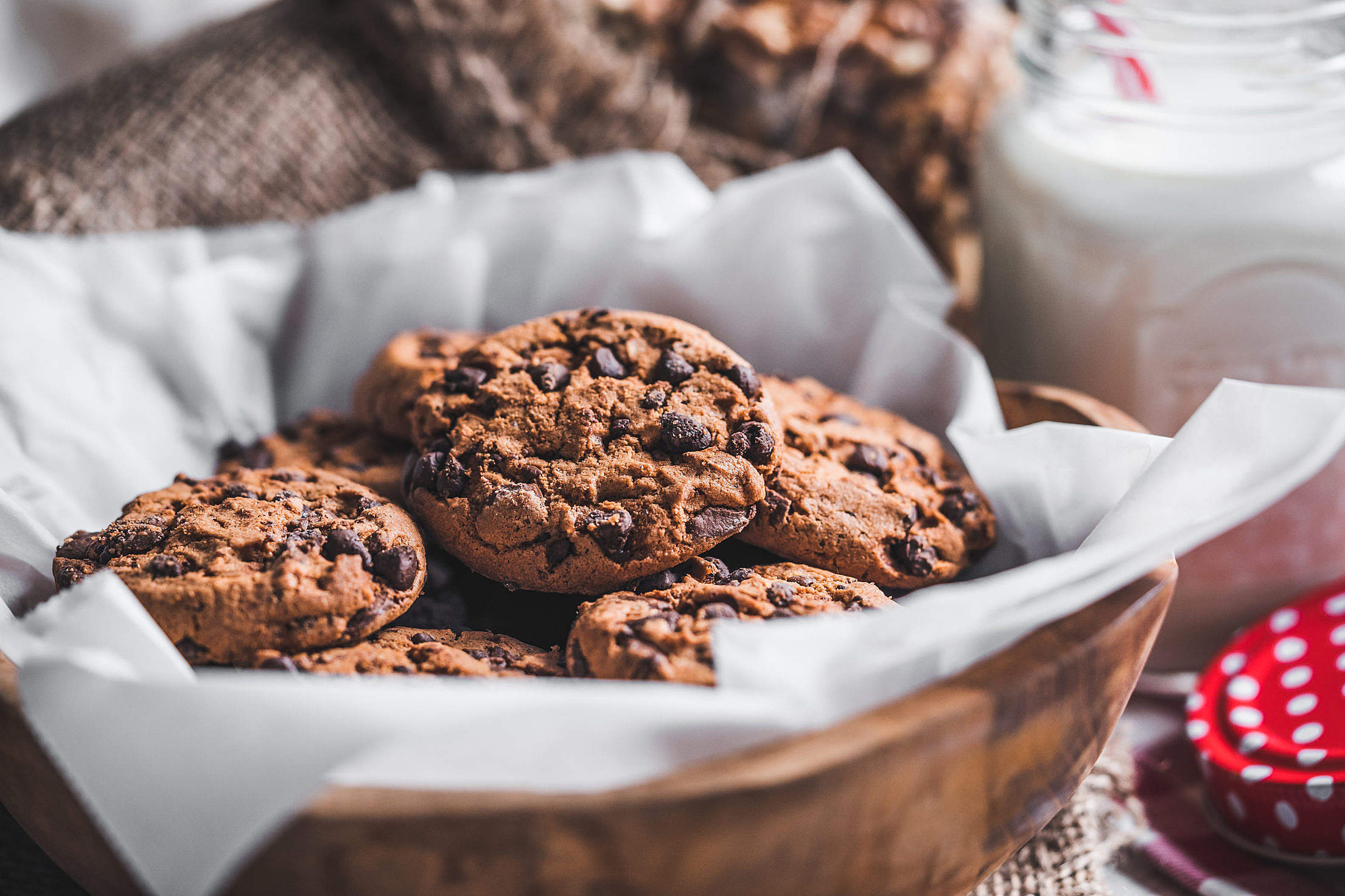 Chocolate Chip Cookies in a Basket Free Stock Photo