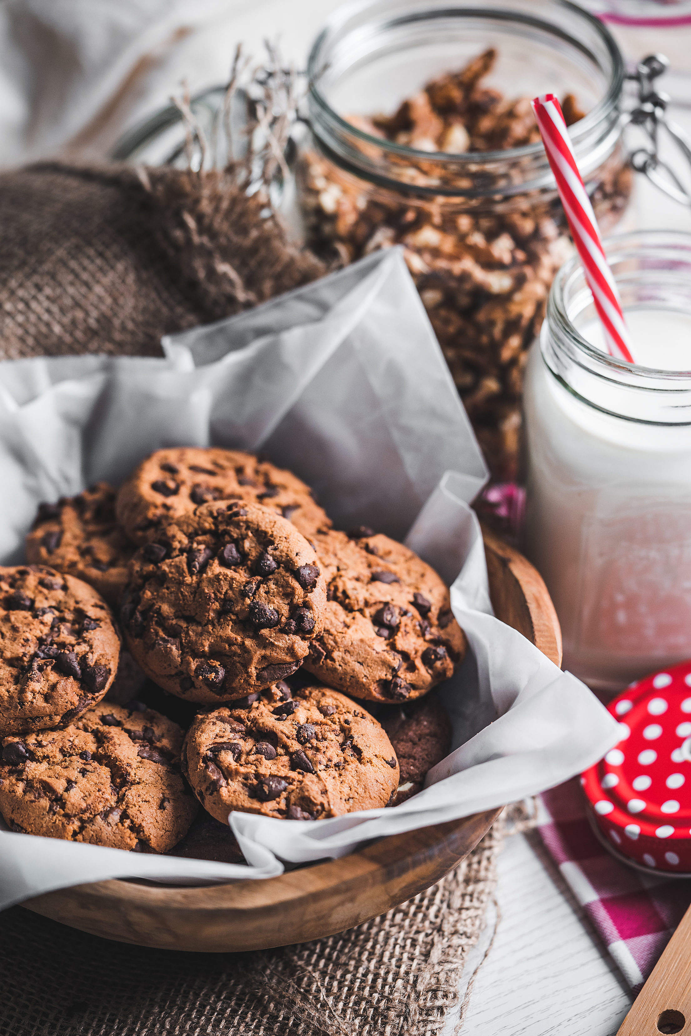 Download Chocolate Cookies with Milk Vertical Free Stock Photo