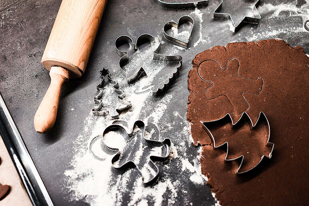 Download Christmas Baking and Cookie Cutters FREE Stock Photo