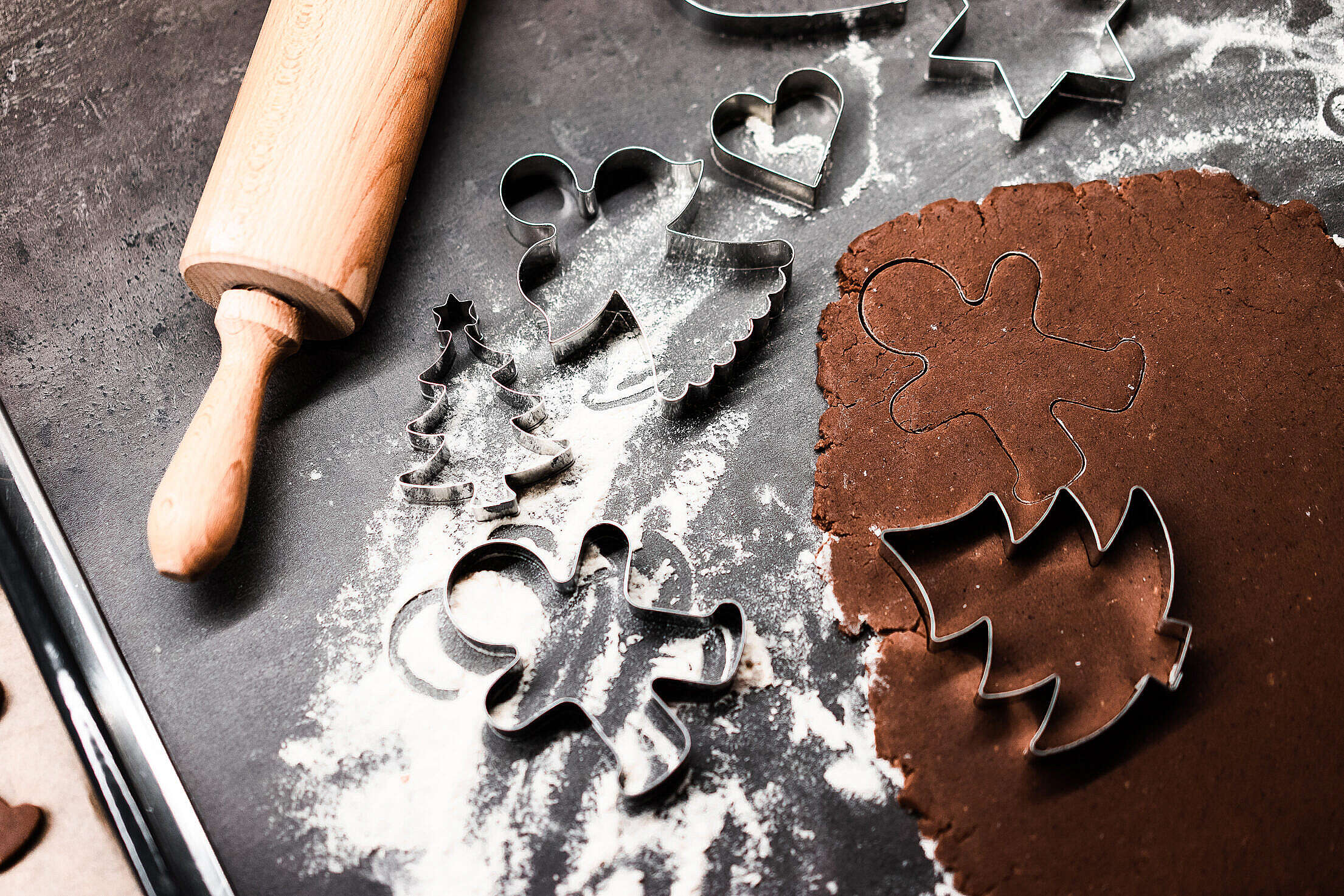 Christmas Baking and Cookie Cutters Free Stock Photo