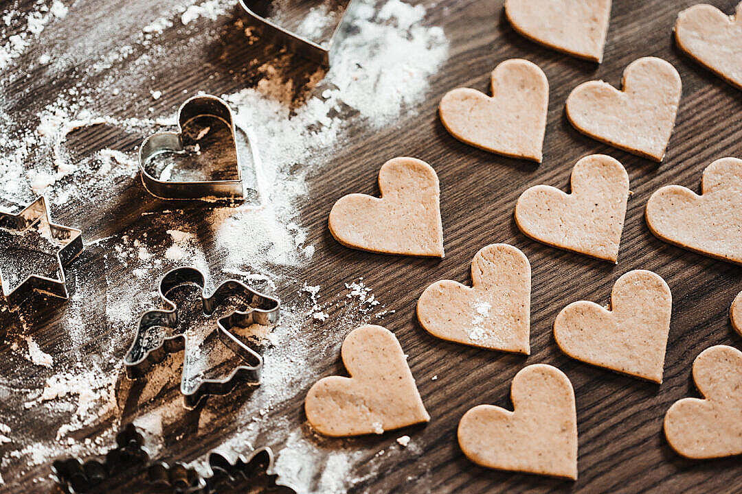 Download Christmas Baking: Lovely Yummy Hearts FREE Stock Photo