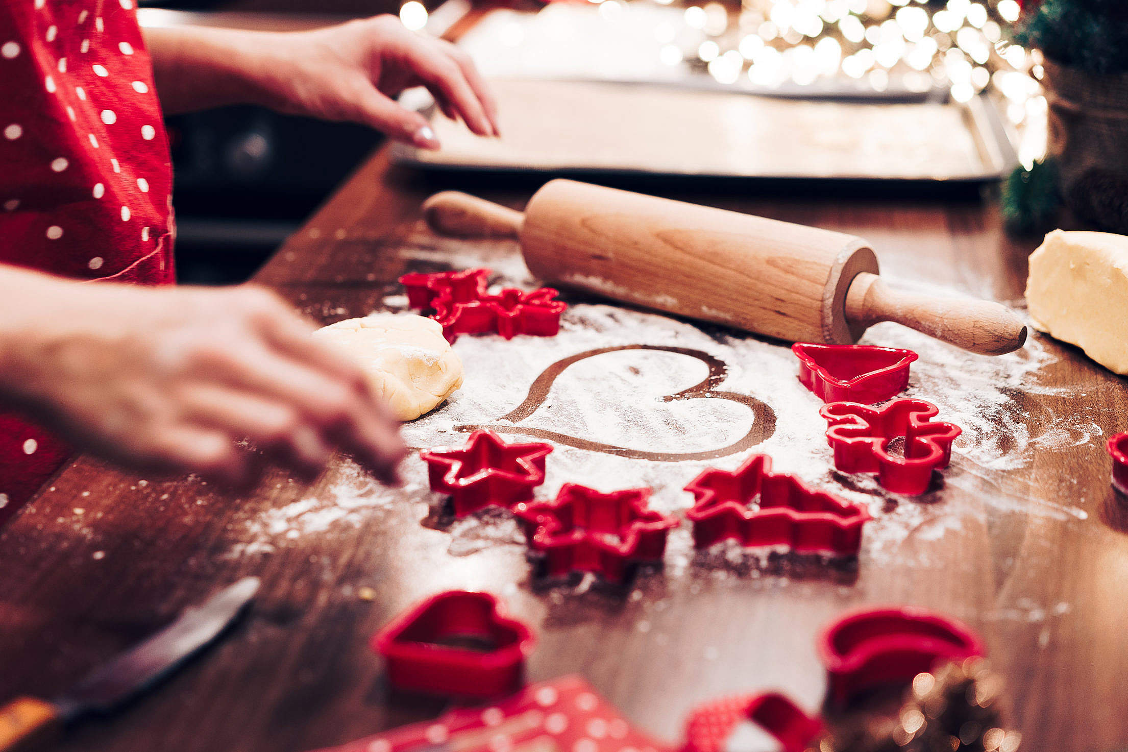 Christmas Cookies Baking with Love Free Stock Photo