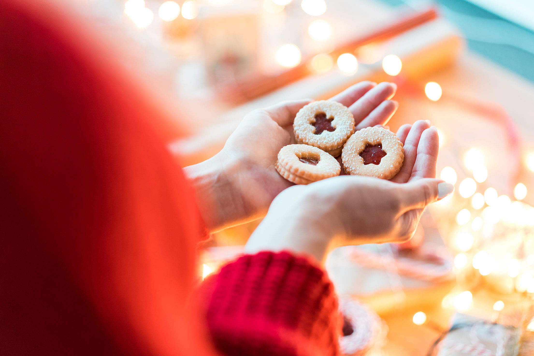 Christmas Cookies in Woman Hands Free Stock Photo