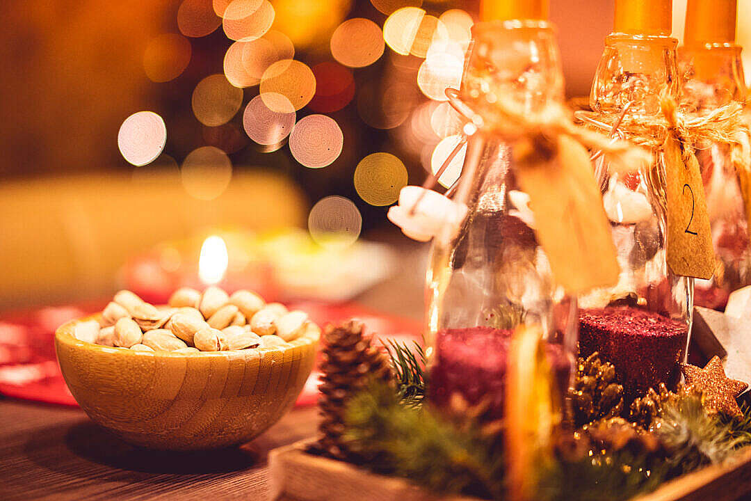 Download Christmas Evening Decorations and Sweets FREE Stock Photo
