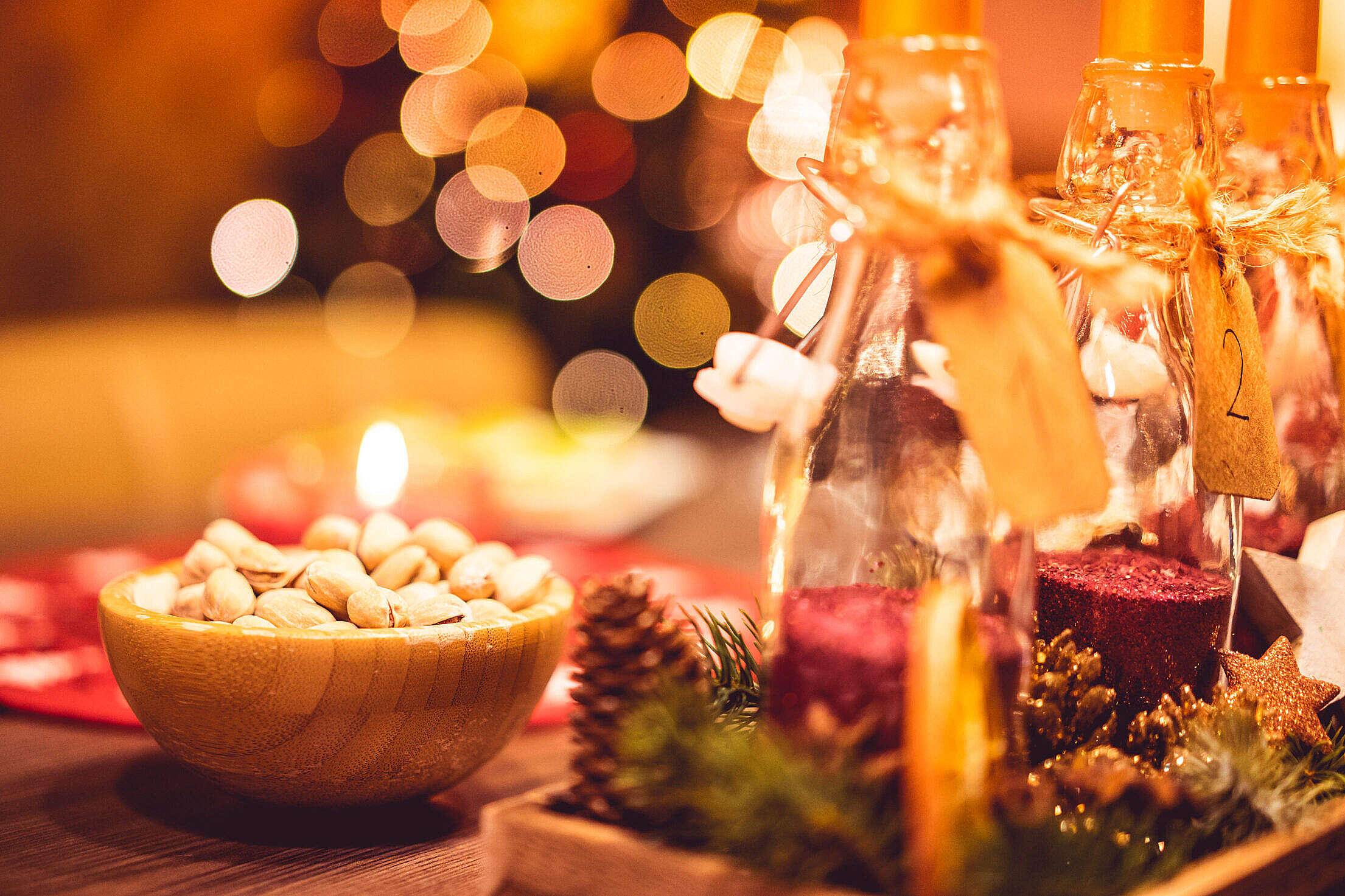Christmas Evening Decorations and Sweets Free Stock Photo