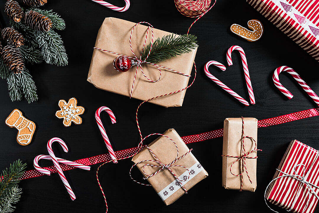 Download Christmas Flatlay Background FREE Stock Photo