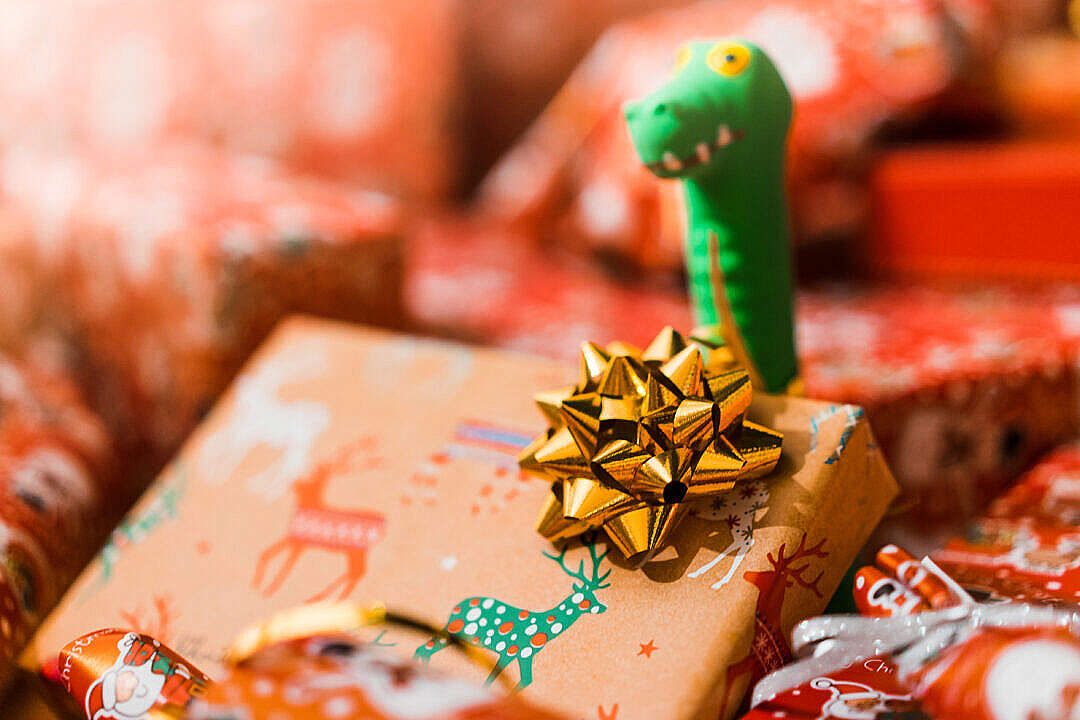 Download Christmas Gift Wrap Decoration Close Up FREE Stock Photo