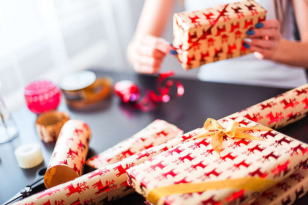 Download Christmas Gift Wrapping FREE Stock Photo