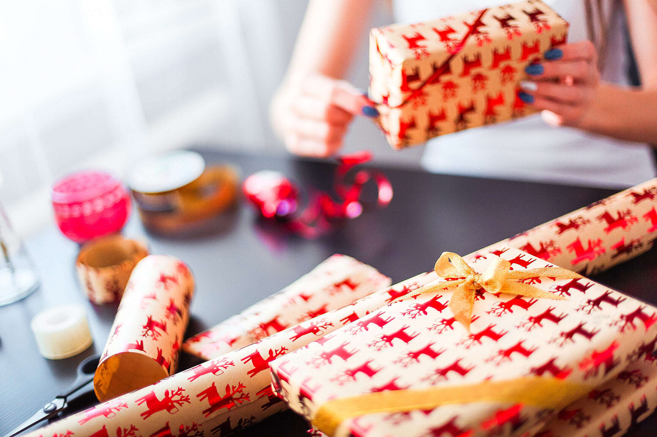 Christmas Gift Wrapping Free Stock Photo