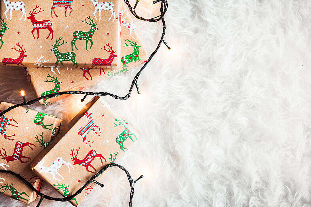 Download Christmas Gifts Still Life with Room For Text FREE Stock Photo